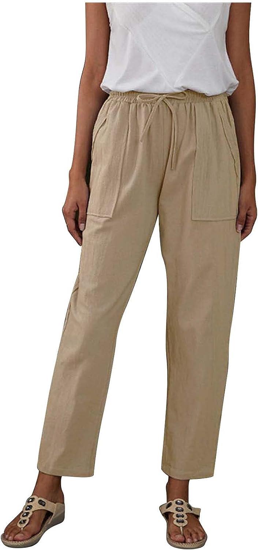 Misaky Solid Color Big Pockets Elastic Waist Cotton And Linen Loose Casual Pants Wide Leg Pants