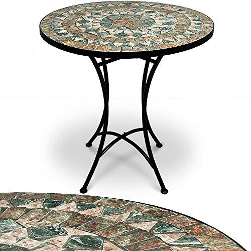 Mosaiktisch Gartentisch Malaga Ø 60 cm Rund Handgefertigte Mosaik Gestell Wetterfest Balkontisch Bistrotisch Kaffeetisch Garten Tisch