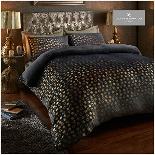 Easy Care Teddy Star Foil Fleece Duvet Cover Set with Pillowcases, Soft & Warm Quilt Set, Double, Charcoal