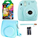 Fujifilm Instax Mini 9 - Ice Blue Instant Camera, Polaroid Instant Mini Film, Fujifilm Instax Groovy Camera Case - Blue and Fujifilm INSTAX WALLET ALBUM 108 BLUE