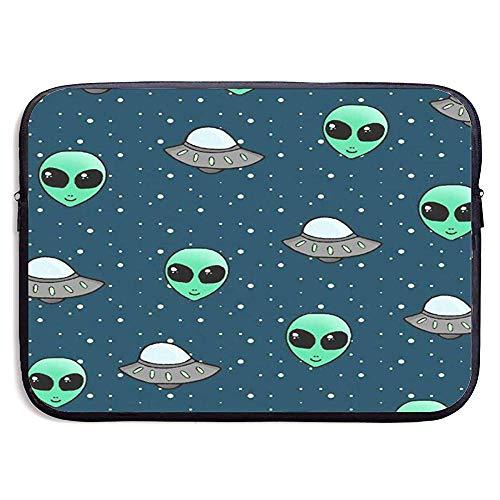 Niet geschikt neopreen laptoptas, draagbare notebook-draagtas, schokbestendige computerbeschermhoes (Space Alien en UFO-kop) tablet-aktetas M(15 Inch) 1011.