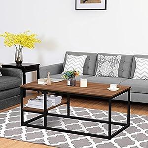 ✱【AMPIO SPAZIO DI STOCCAGGIO】 : La dimensione del nostro tavolino da caffè è 102L × 50W × 40H cm. Il nostro tavolino ha una mensola che altri tavolini non hanno sul mercato. Il nostro tavolino ha un doppio spazio di archiviazione. Con questo spazio d...