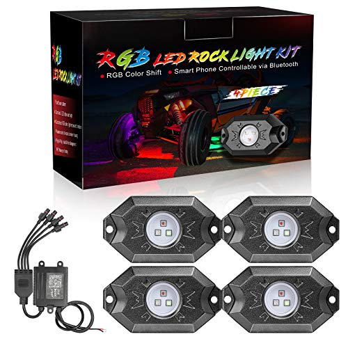 DJI 4X4 RGB LED Rock Light Kits with Bluetooth Control Waterproof Multicolor Neon LED Lights Underglow Trail Rig Lights for Truck SUV ATV Boat Motorcycle Off Road - 4 Pods