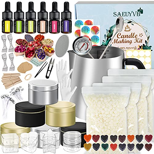 Candle Making Kit,DIY Candle Making Kit,Easy to Make Colored Candle Soy Wax Kit,Including Soy Wax, Wicks,Melting Pot, Tins,Dried Flowers and More