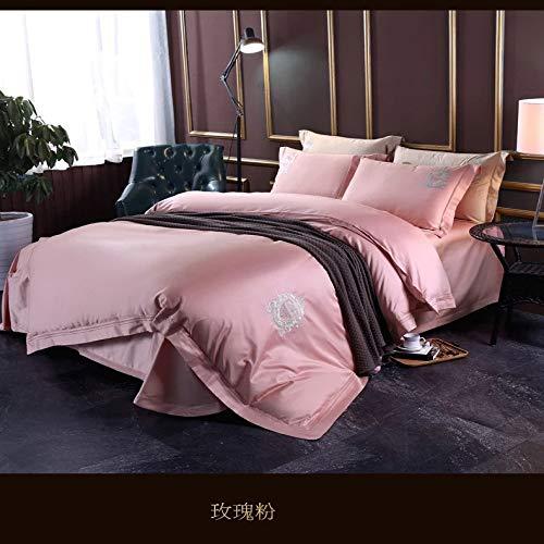 yaonuli Coton brodé élégant Quatre pièces Minimaliste lit Quatre pièces en Poudre Rose 220 * 240