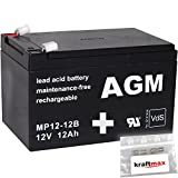kraftmax 1x AGM 12V / 12Ah Blei-Akku - MP12-12B [ Faston 6,3 ] VDs geprüft - inkl. 2X Original Anschluß-Adapter