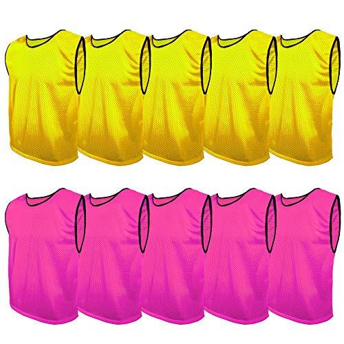 SPORTSBIBS Juego de 10 camisetas de fútbol, 2 colores, 5 de cada color, para niños y adultos, sin logotipo, para hombre, mujer, ancianos y jóvenes