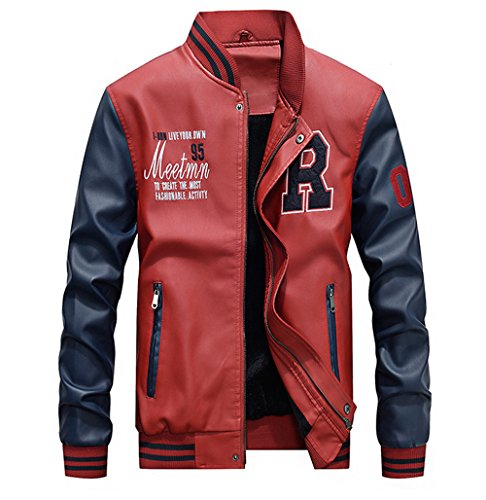Lavnis Men's Faux Leather Jacket Casual Baseball Stand Collar Slim Fit Coat Red M