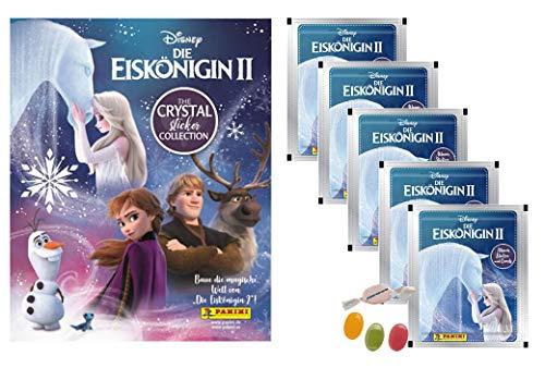Panini Die Eiskönigin 2 Frozen 2 Crystal Sticker & Stehkarten - Stickeralbum + 5 Stickertüten zusätzlich 1 x Sticker-und-co Fruchtmix Bonbon