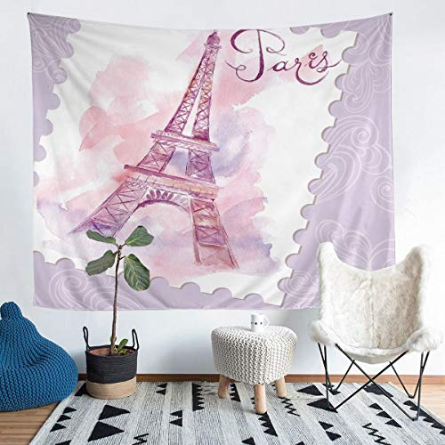 Manta de pared de la torre Eiffel con diseño de París y paisaje urbano impreso para colgar en la pared para niños y niñas, manta de microfibra para ropa de cama de color morado, 152 x 222 cm