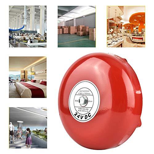 Campana de Alarma contra Incendios Redonda de 24 V Campana de Seguridad a Prueba de Agua Campana de Seguridad y Carcasa de Aluminio Fundido a presión hasta 90DB Alarma (Rojo)