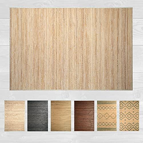 LucaHome – Alfombra bambú Uganda Ideal para Interior o Exterior, Alfombra bambú para Cocina, salón, despacho, Dormitorio con Cenefa, Alfombra de bambú Antideslizante (Wash White, 120x180cm)