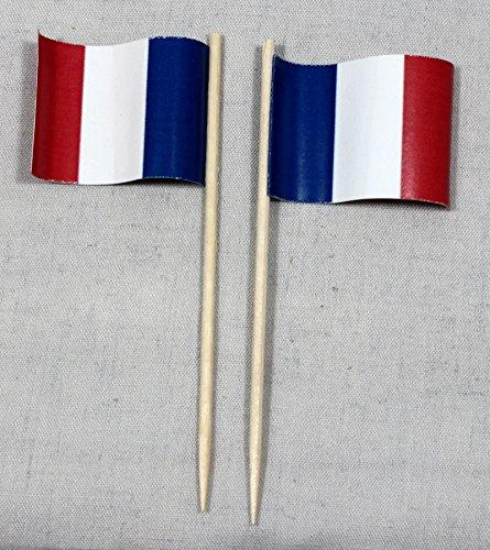Buddel-Bini Party-Picker Flagge Frankreich Papierfähnchen in Spitzenqualität 50 Stück Beutel