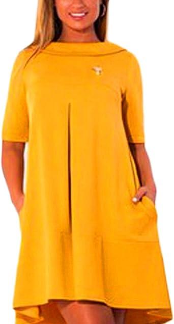Vestidos Tallas Grandes Mujer Elegantes Primavera Vestido Verano Manga Corta Cuello Redondo Mini Vestido Vestido Camisero Vestidos Camiseros Colores Solidos Anchos Asimetricas Vestido De Verano Ropa Amazon Es Ropa Y Accesorios