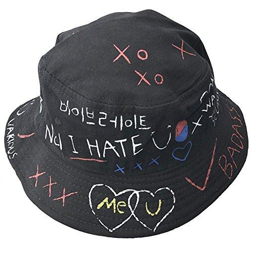 AJON Baumwolle Buchstaben Eimer Sonnenhut Frühling Sommer Visier Schutz Hüte Graffiti Harajuku Fischer Kappe Für Frauen Männer Mädchen,Black