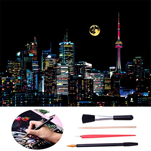 LazLake Scratch Paper Rainbow Painting Sketch, City Series Night Scene,Scratch Painting Creative Gift,Scratchboard for Adult and Kids with 4 Tools (Canada)