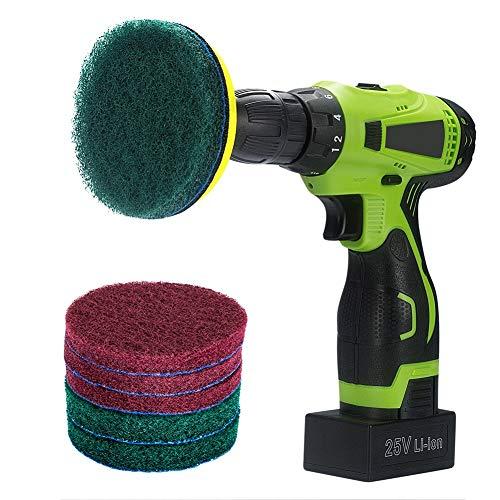 Kichwit - Lot de coussinets pour perceuse de 10,2 cm de diamètre qui inclut un velcro, 3 coussinets anti griffe rouges et 3 coussinets verts raides - Outil de nettoyage à toute épreuve pour la maison