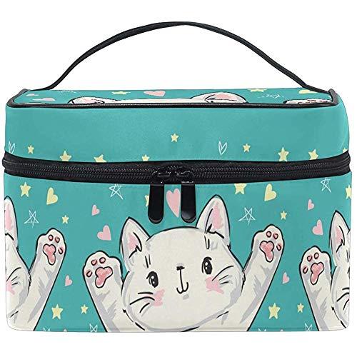 Sac cosmétique sac de maquillage chat mignon coeur blanc pour les femmes Sac cosmétique trousse de toilette train