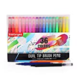 Inoranges Direct Dual Tip Art Marker Pens Fine Point Journal Pens & Colored Brush Markers for Kid Adult Coloring Books Drawing Planner Calendar Art Projects (36 Colors)