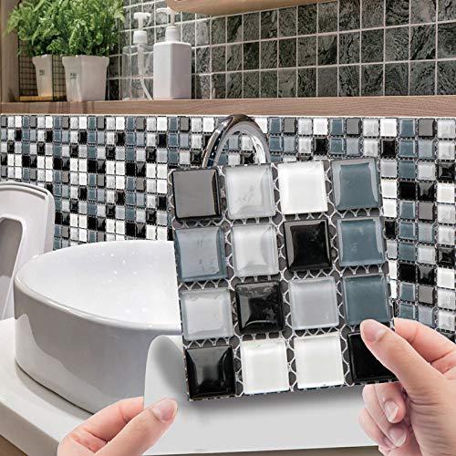 2021 Nuevo Azulejos Adhesivo Moderno Estilo Mosaico Pared Azulejos 3D Azulejos Para Baño Cocina Baldosas De Cristal DIY Impermeable Peel Stick Decoración Para Salón Dormitorio