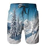 Pantalones Cortos De Playa para Hombres,Imagen escénica abetos árbol día Helado,Pantalones De Chándal De Secado Rápido,...