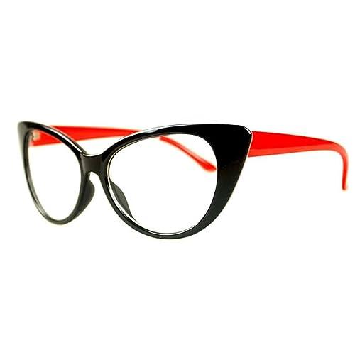 3d792f244eccd NoyoKere Women Cat Eye Glasses Frames Striped Retro Eyeglasses Ladies  Vintage Plain Spectacles Frame Clear Lens