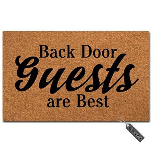 "MsMr Doormat Funny Doormat Back Door Guests are Best Creative Designed Door Mat Entrance Floor Mat for Indoor Outdoor Non-Woven 23.6""x15.7"""
