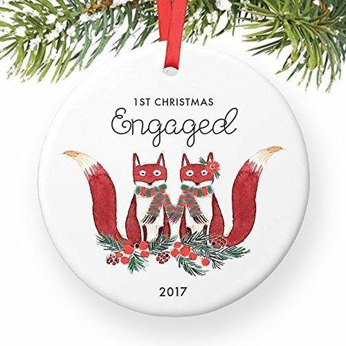 For367Walton Our 1st Christmas Engaged Ornament 2017, Fox Ornament Gift for Engagement First Christmas Cute Woodland Foxes Ceramic Xmas Ornament Present Keepsake 3' Flat Porcelain