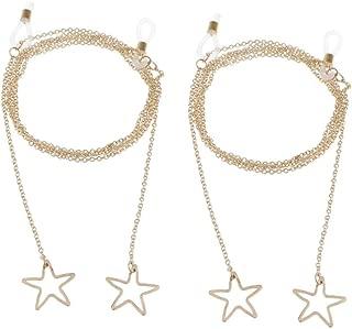 Eyewear Retainer Strap Chain - Retro Sunglass Holder Star Pendant Necklace, Eyeglasses String - Pack of 2 - Golden, 90cm