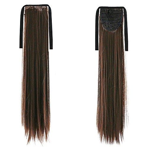 Sanwood extension Queue de cheval Cheveux enveloppant ruban à clips Postiche