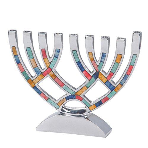 Hanukkah Menorah for Candles Colored Stones & Aluminum for Chanukah Party Candles 7' X 8 3/4'