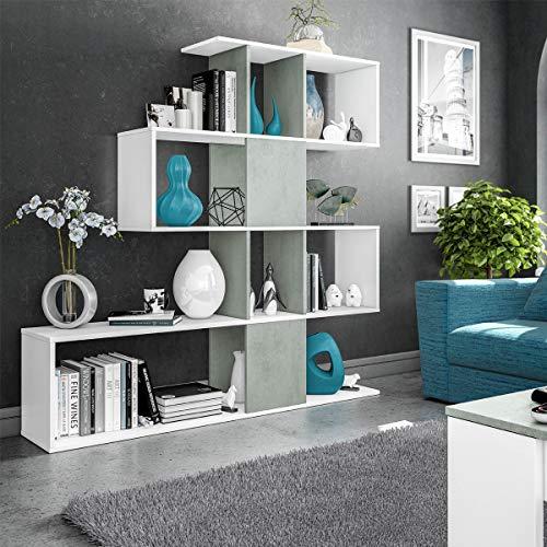 MarinelliGroup Libreria scaffale Multiuso Zig Zag Bianco e Cemento con Ripiani 145 X 29 X 145 cm Salone Studio Camera - 1L2251A