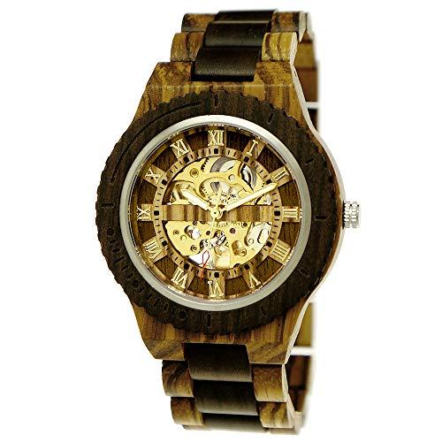 Handgefertigte Holzwerk Germany® Automatik Herren-Uhr Öko Natur Holz-Uhr Holz Armband-Uhr Braun Zebra Gold Analog Römische Ziffern