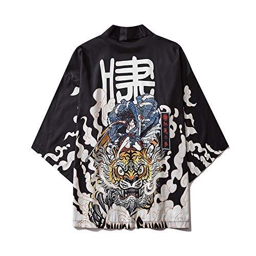 LYH Estilo Japonés Casual Kimono Streetwear Hombres Mujeres Moda Cardigan Japón Harajuku Anime Thin Robe Clothes-Style_M_M