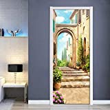 DFKJ Pegatinas de Puerta, Mural 3D con Vista de Calle de la Ciudad Europea para Sala de Estar, Dormitorio, decoración del hogar, póster, Pegatina autoadhesiva para Puerta A10 95x215cm