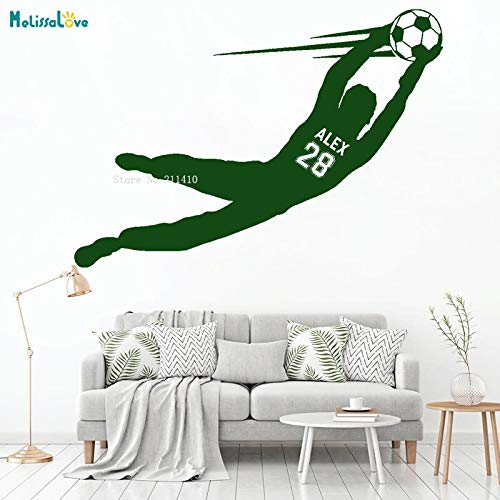 ASFGA Name und Nummer des Fußballtorhüters springen hoch Junge fliegen Fußball Vinyl Wandtattoos Wohnkultur Sport Schlafzimmer 60x42cm
