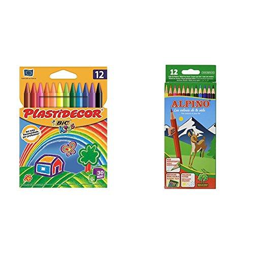 BIC Kids Plastidecor - Pack de 12 ceras para colorear + Alpino 654 - Lápices de colores