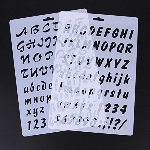 DACCU 2 stuks sjablonen DIY fondant cake decoreren tools bakvormen cijfers alfabet letter cookie cakevorm cake sjabloon vorm