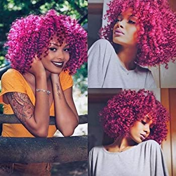 Amazon Com Aisi Hair Afro Kinky Curly Fully Wigs Shoulder Length Synthetic Cosplay Wigs For African American Women Natural Curly Heat Resistant Fiber Afro Hair Wigs Magenta Beauty