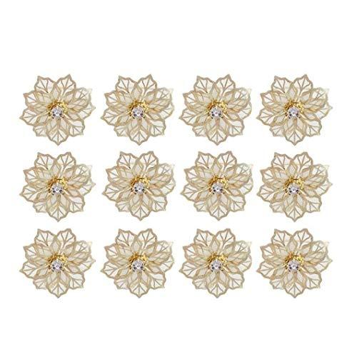 Zonfer 12st Serviettenringe Tisch Metall Serviettenhalter Partei Handtuchhalter Serviette Schnalle Kristall Blume Hochzeitsdeko