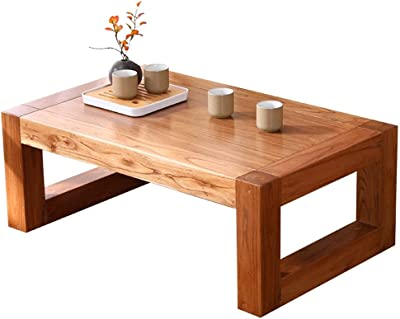 Coffee Tables Solid Wood Bay Window Table Tatami Balcony Low Table Living Room Wooden Breakfast Table Elm Material (Color : Cyan, Size : 70X45X30CM)