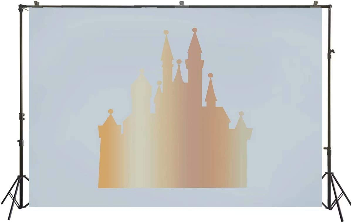 Gold Castle Backdrop Baby Shower Backdrop Fairy Tale Prince Princess Birthday Party Banner Golden Castle Cake Table Scene Setter Decorations Banner Portrait Photography Booth Background 7x5ft