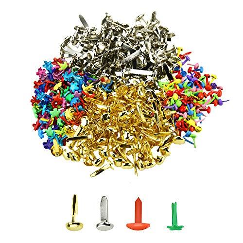 UTRUGAN 400 PCS Sujetadores de Papel Mini Brads Scrapbooking Tachuelas de Papel Encuadernadores Metalicos Clavos de Metal para Niños, Manualidades, Álbum de Recortes, DIY, Multicolor