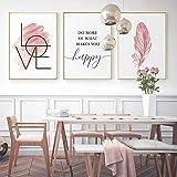 3 Cuadro Plumas Rosa Poster Frases Motivadoras Laminas Love para Cuadros Lienzo Nordico Niña Regalo sin Marco