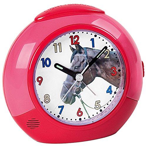 ATLANTA - Wecker Pferd für Kinder - Kinderwecker - rot/pink - leise - Pferdewecker