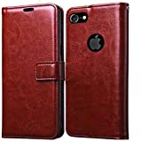 Pikkme Flip Cover for Apple iPhone 7 / iPhone 8 / iPhone SE 2020 Brown Leather Case | Foldable Stand | Inner TPU | Wallet Card Slots