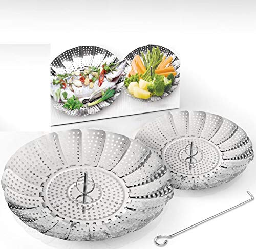 Two-Pack Vegetable Steamer Baskets (Two Sizes) Folding...