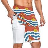 Kiribati Flag - Pantalones cortos deportivos para hombre, 2 en 1, con bolsillo