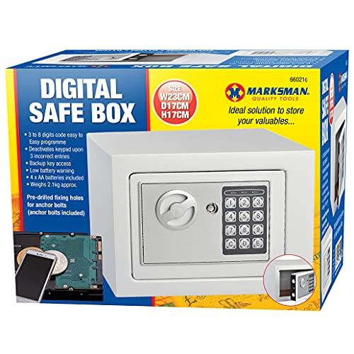 Marksman - Caja de seguridad electrónica digital con teclado numérico y acceso de llave de respaldo, incluye pilas
