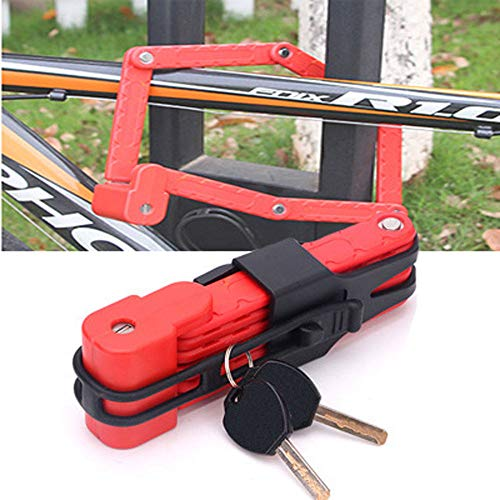 TERMALY Fahrradschloss,Faltschloss Vorhängeschloss,Fahrradzahlenkabelschloss,Fahrradklappschloss,Red